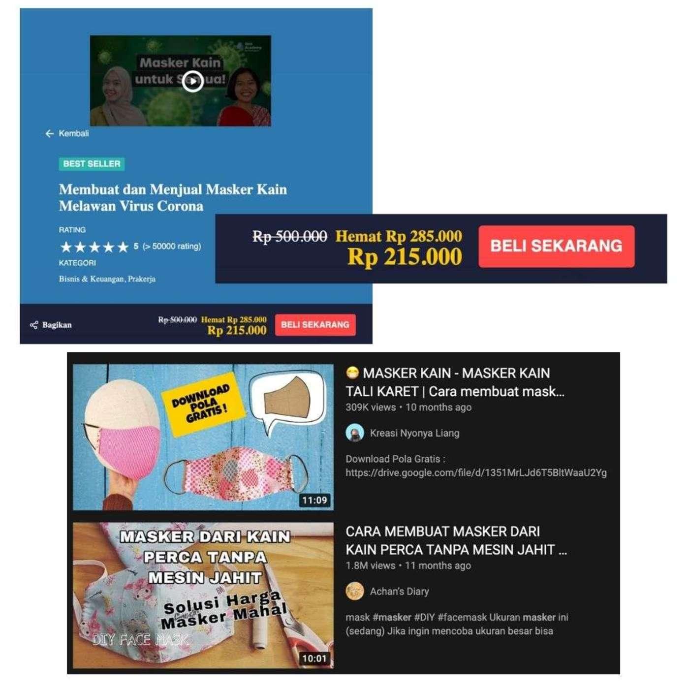 上图:在Skill Academy上,如何制作口罩的课程原价为50万印尼盾(约合36美元),下图:YouTube上类似的免费课程