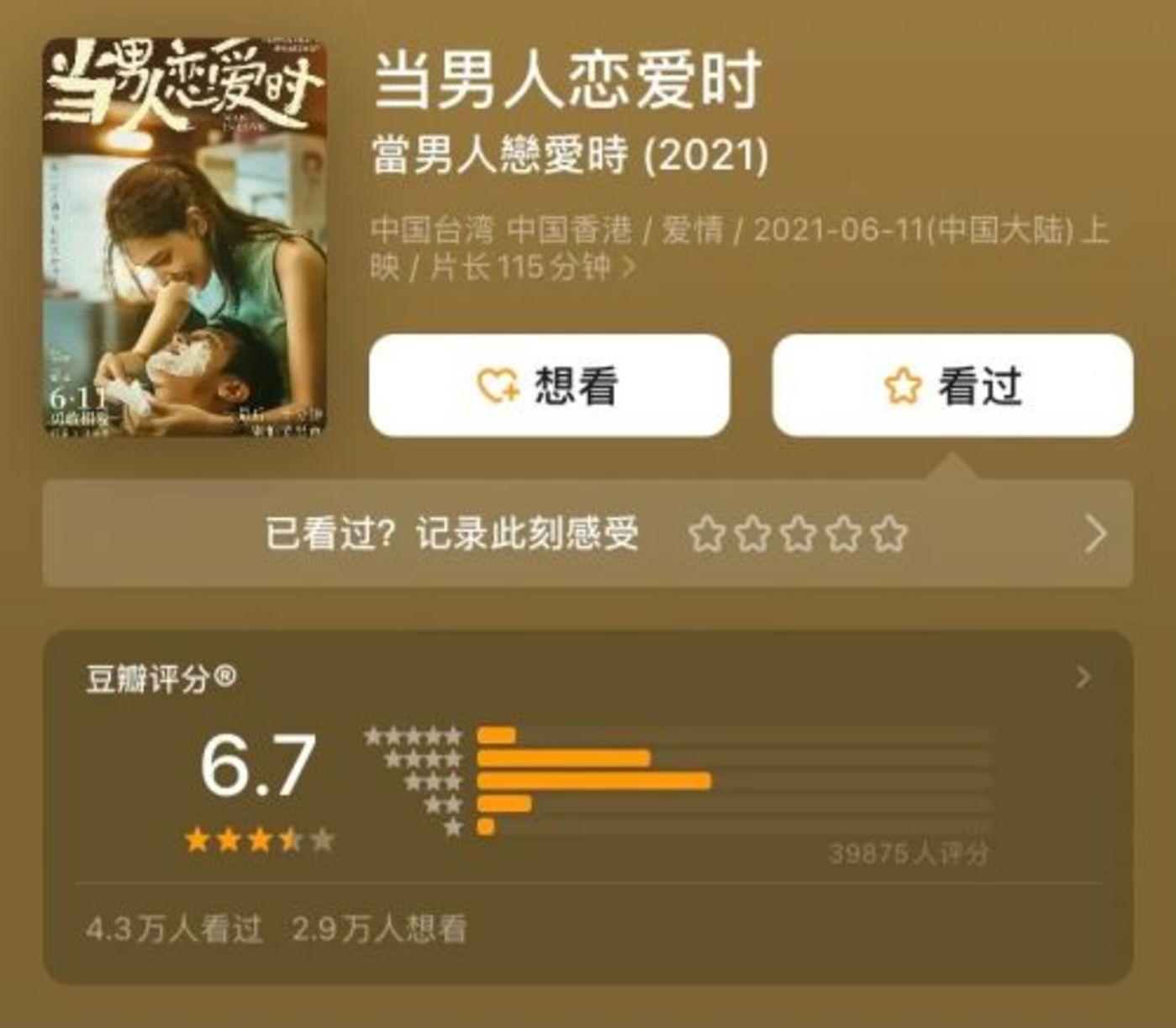 《当男人恋爱时》目前在豆瓣评分为6.7