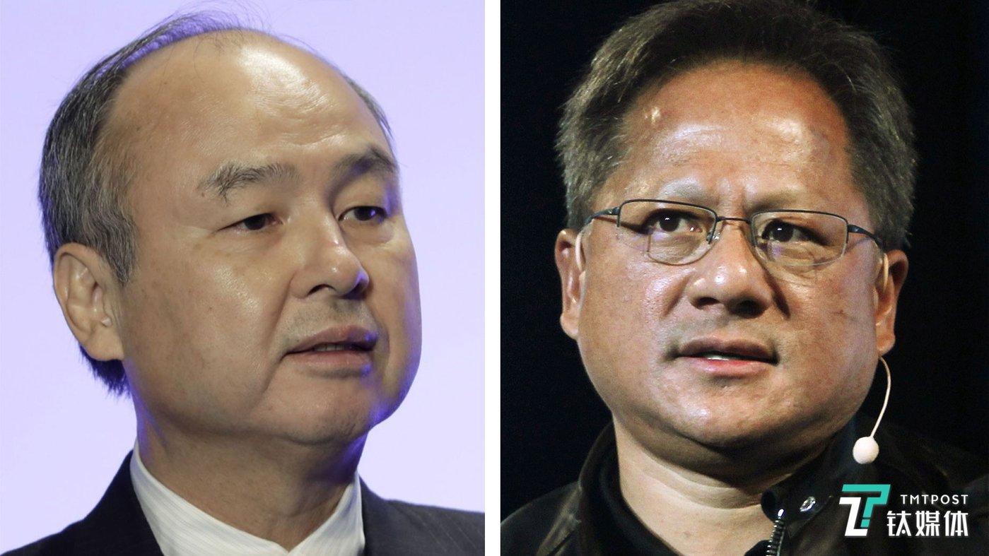 图片左侧是Arm母公司软银CEO孙正义,右侧是英伟达CEO黄仁勋
