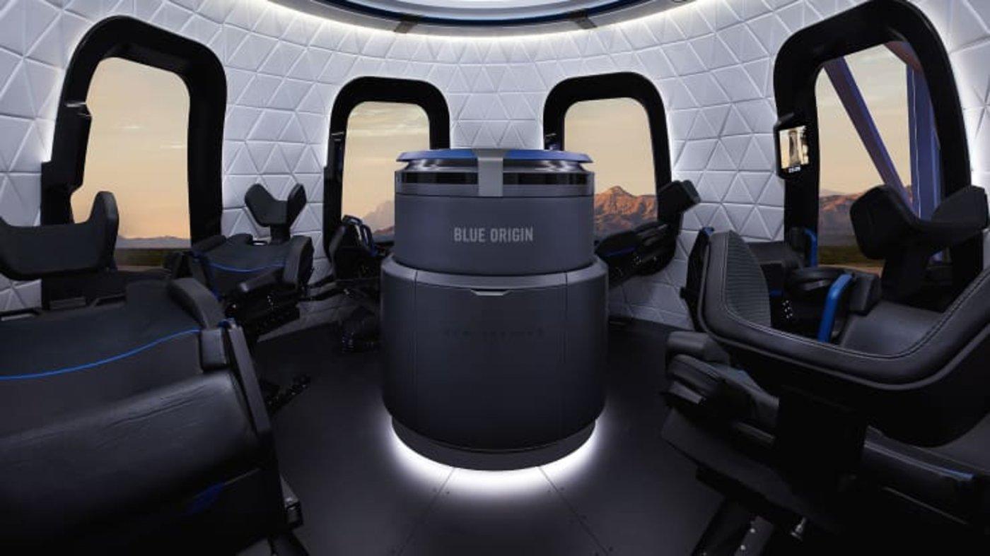 """""""新谢泼德号""""太空舱的内部(来源:蓝色起源)"""
