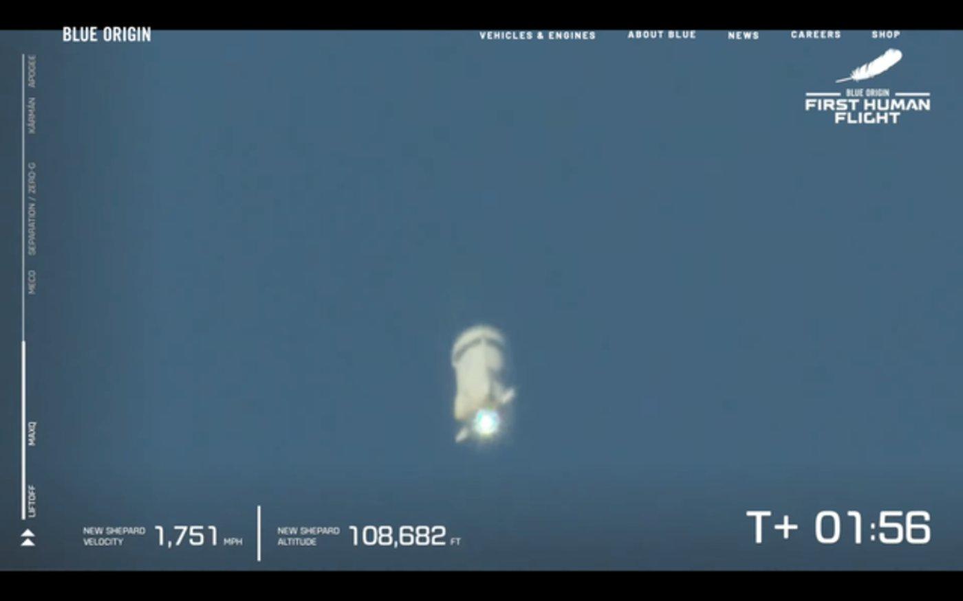 """这是蓝色起源""""新谢泼德号""""第一次载人飞行"""