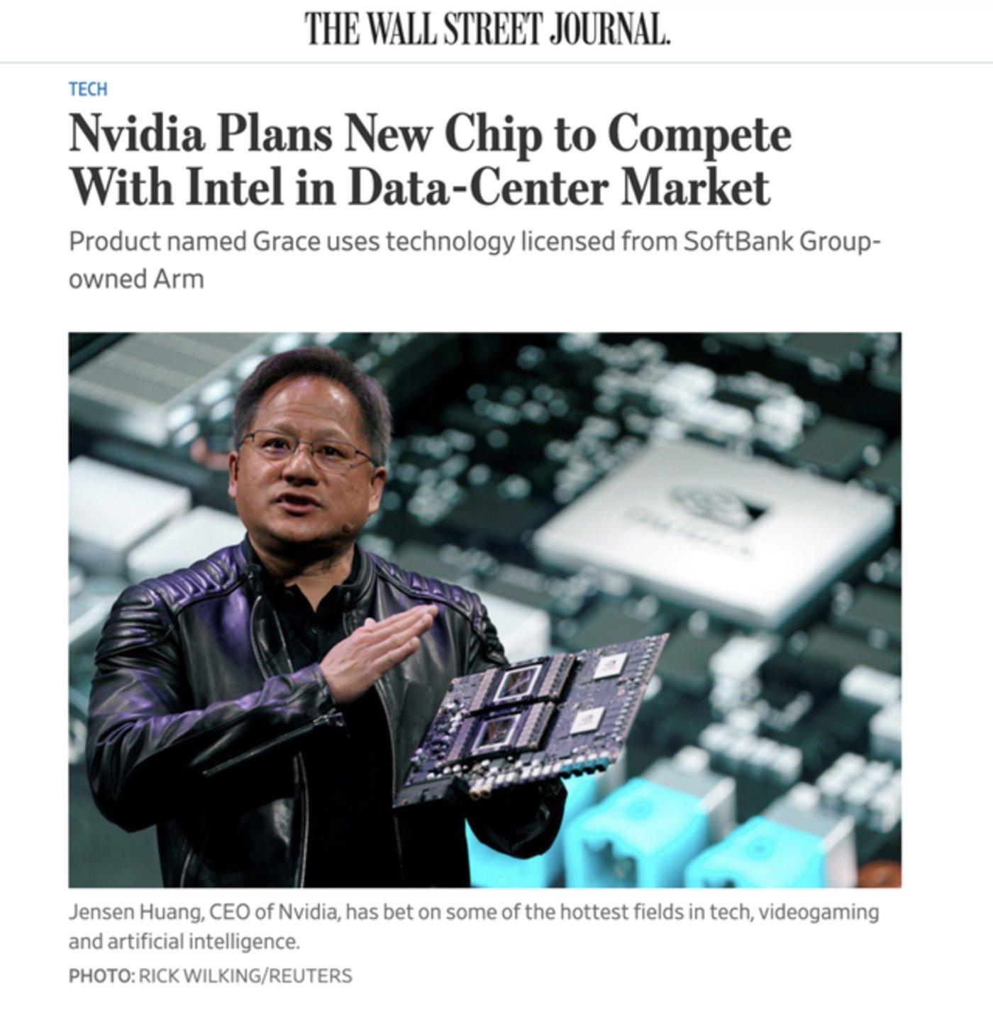 英伟达4月表示将推出 基于ARM架构设计服务数据中心的处理器Grace