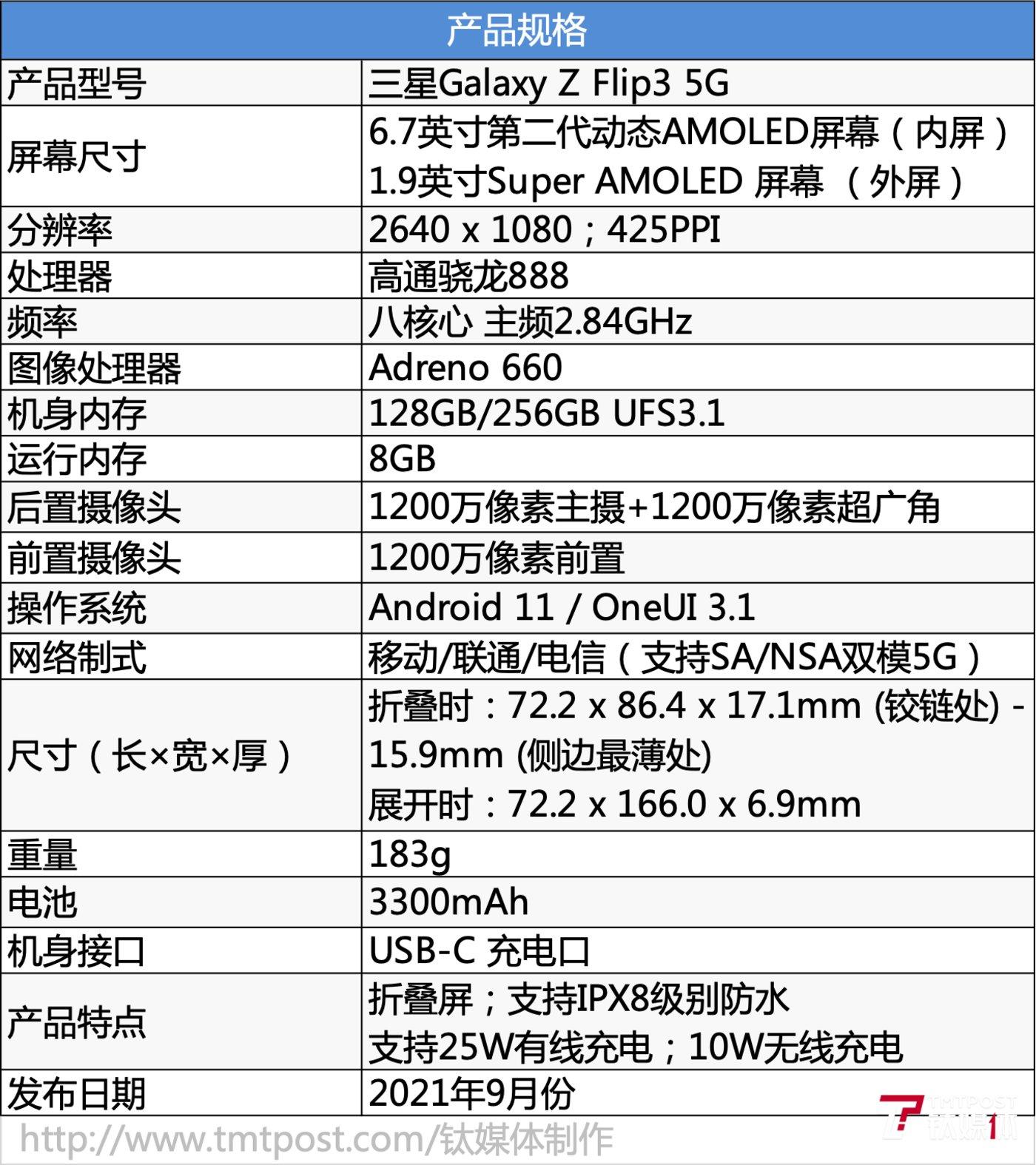 Galaxy Z Flip3 5G参数一览