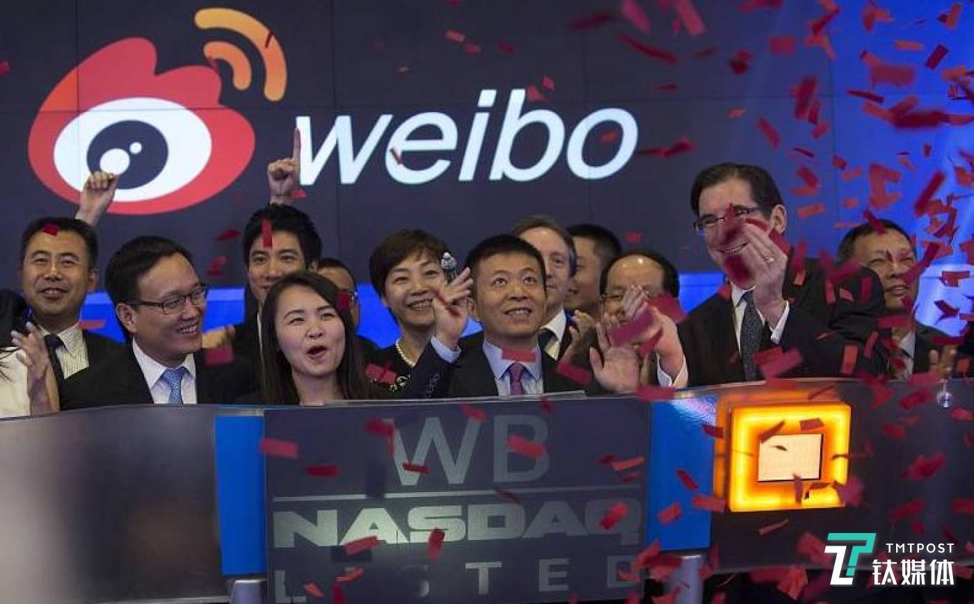 2014年4月17日,美国纽约,新浪旗下微博业务正式登陆纳斯达克。据悉,微博确定IPO发行价为17美元,来源:视觉中国