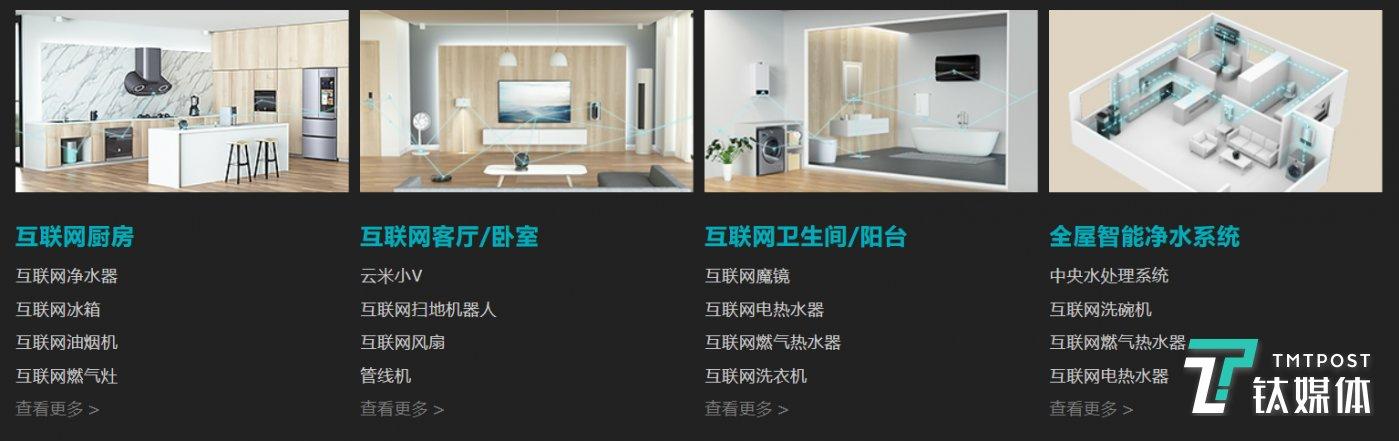 云米目前推出的产品与每一个家中的场景相结合
