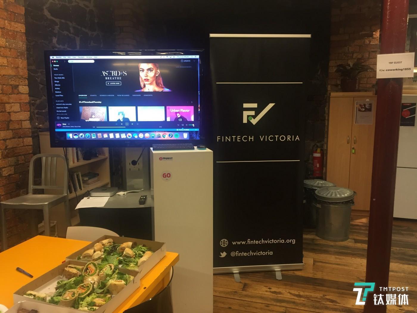 Fintech Victoria办公室经常举办创业者冷餐会