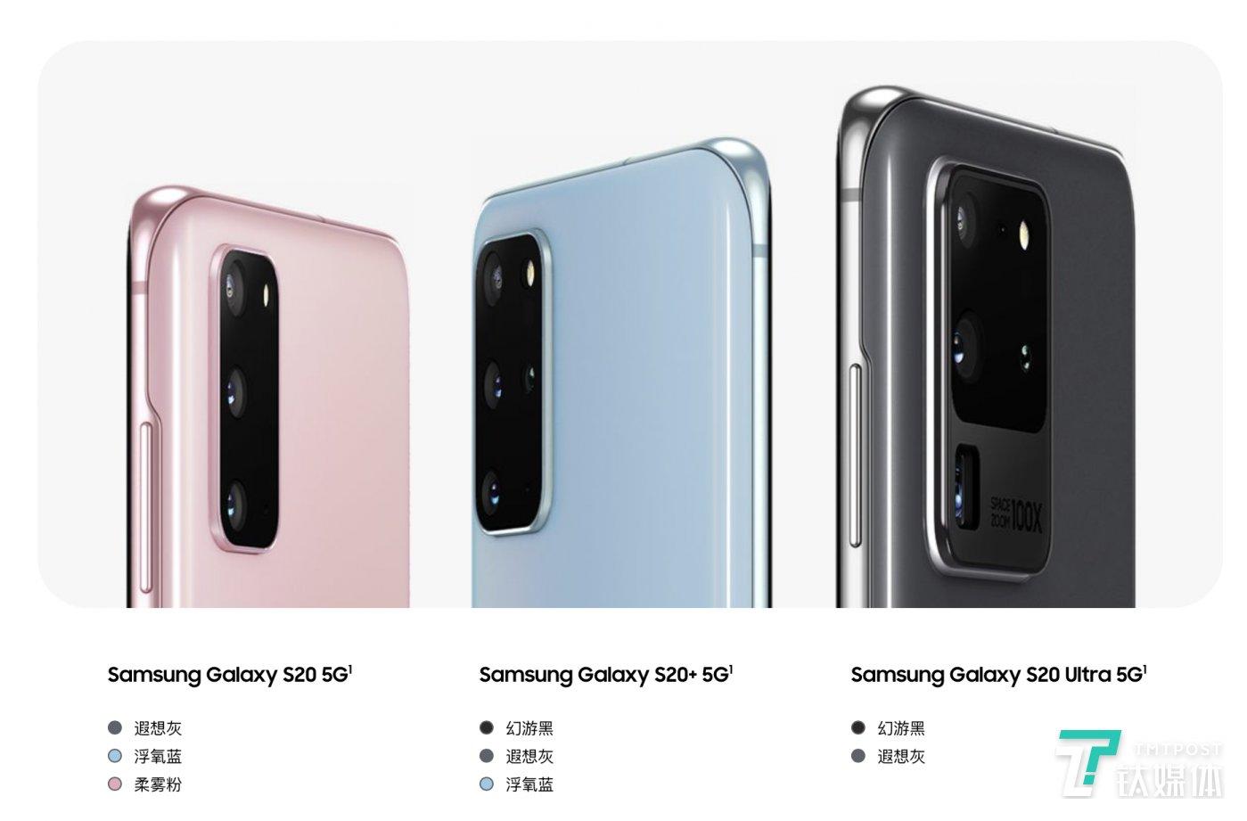 Galaxy S20系列手机配色一览