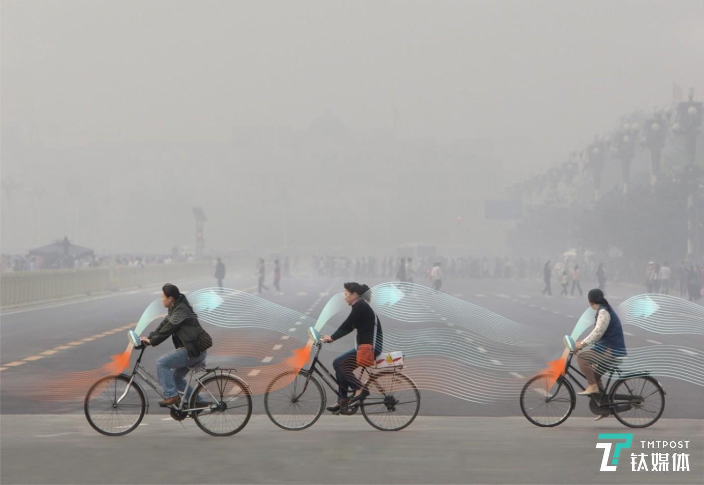 减霾单车工作原理示意图。图片来源/罗斯加德工作室