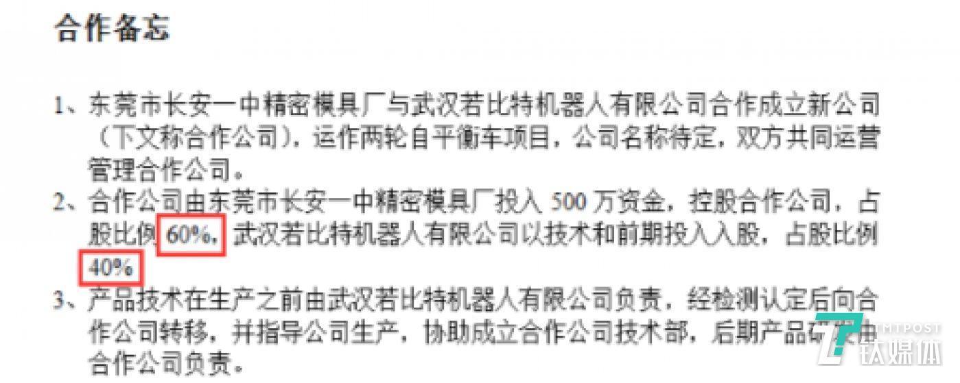 周偉及若比特公司與吳細龍合資成立易步的《合作備忘錄》(樂行公司人士提供的截圖)