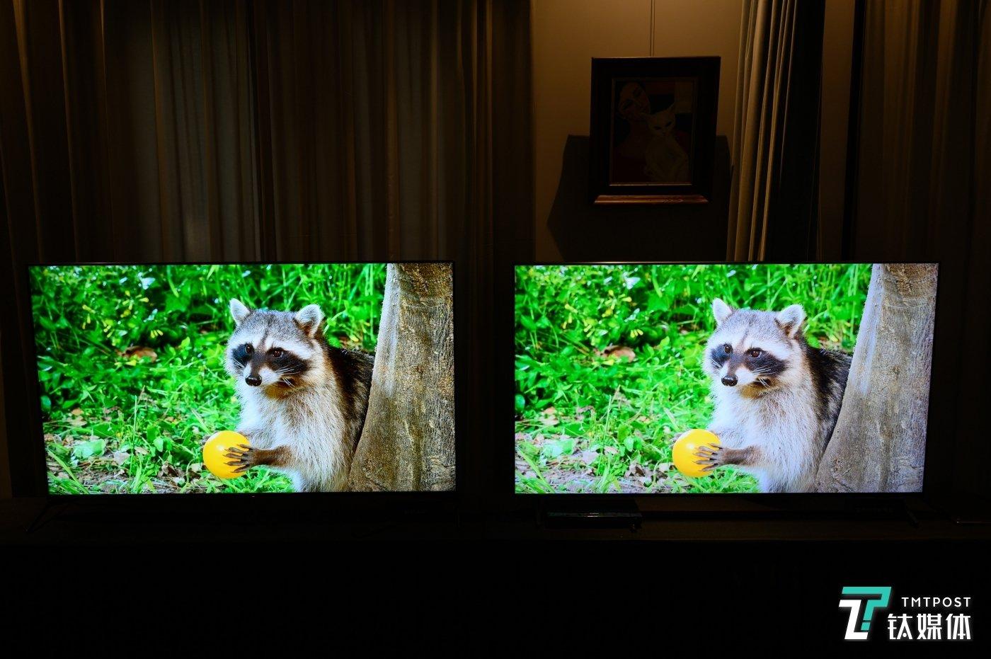 左侧索尼X9500H与右侧三星Q700T